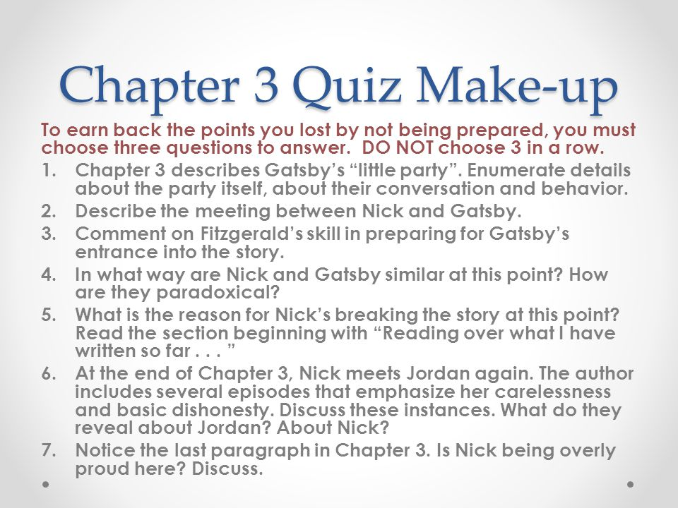 great gatsby study guide through chapter 6 essay Free essay: answer key: study guide questions – the great gatsby chapter 1 1 how does the narrator describe gatsby he says gatsby had an extraordinary gift.
