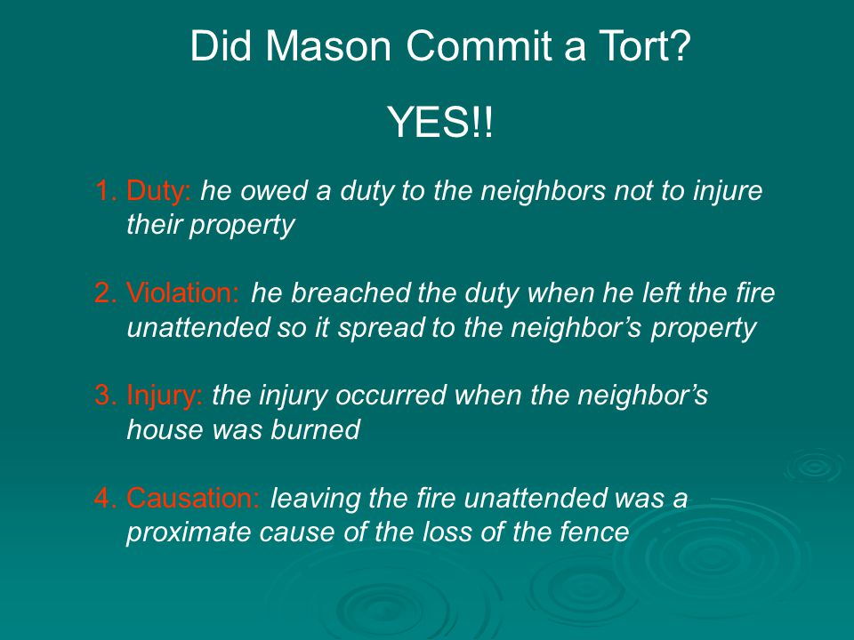 Did Mason Commit a Tort YES!!