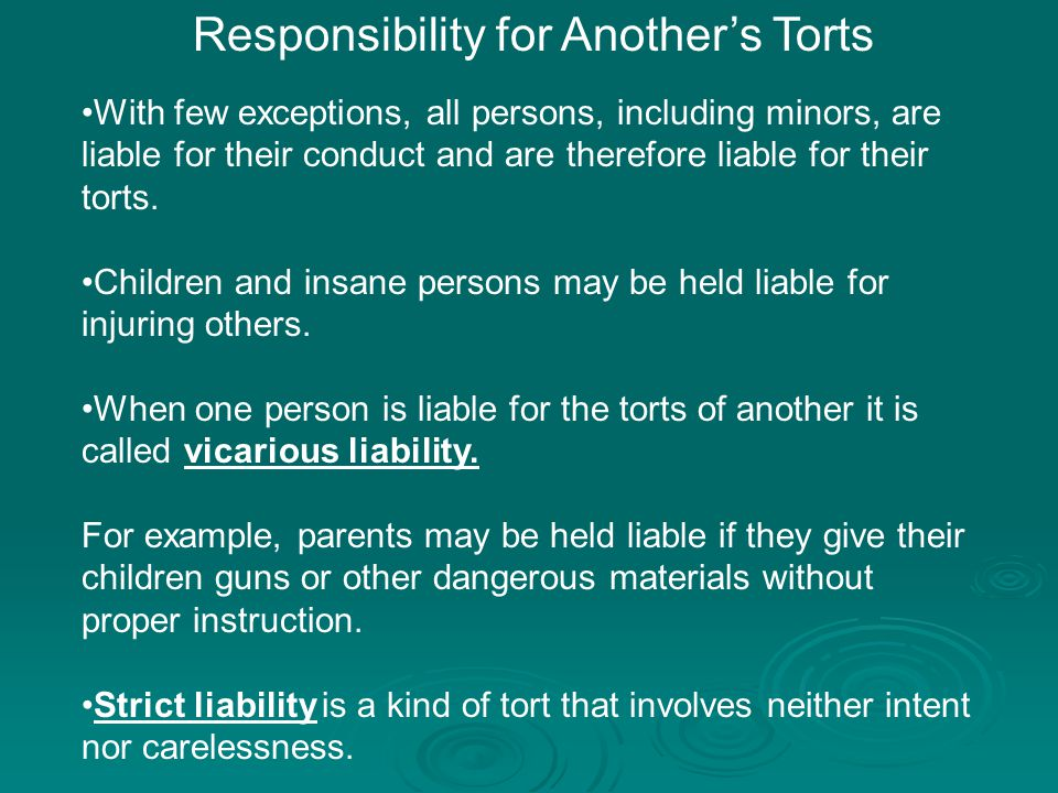 Responsibility for Another's Torts