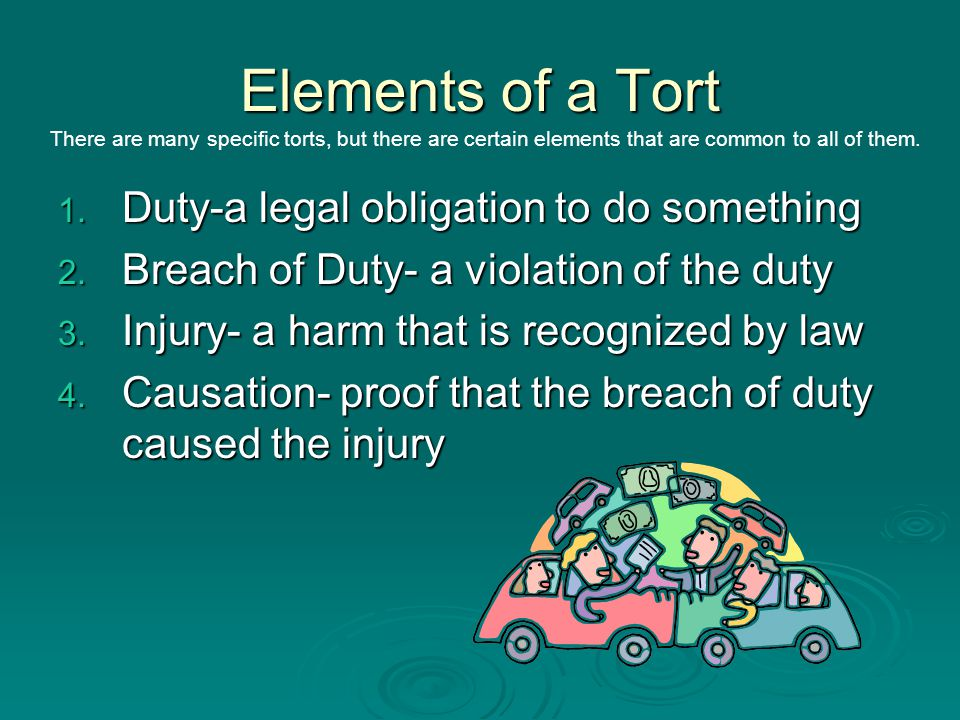 Elements of a Tort Duty-a legal obligation to do something