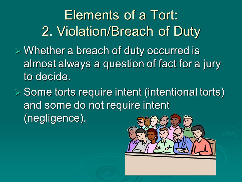 Elements of a Tort: 2. Violation/Breach of Duty