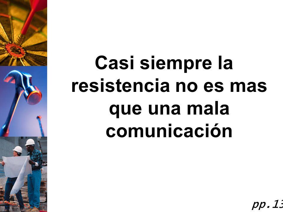 Casi siempre la resistencia no es mas que una mala comunicación