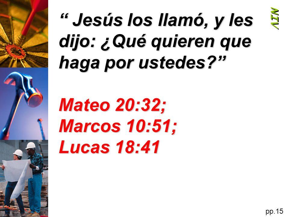 Jesús los llamó, y les dijo: ¿Qué quieren que haga por ustedes