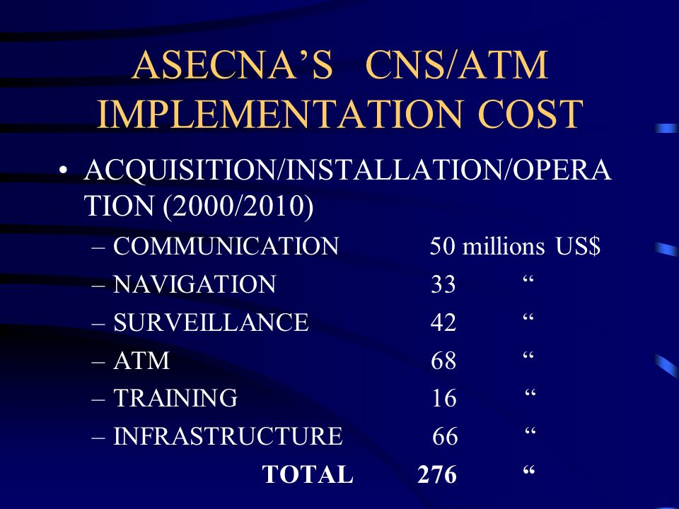 ASECNA'S CNS/ATM IMPLEMENTATION COST