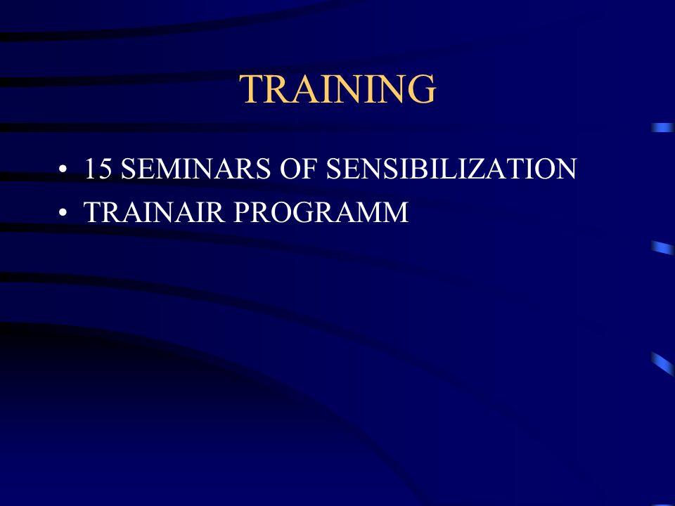 TRAINING 15 SEMINARS OF SENSIBILIZATION TRAINAIR PROGRAMM