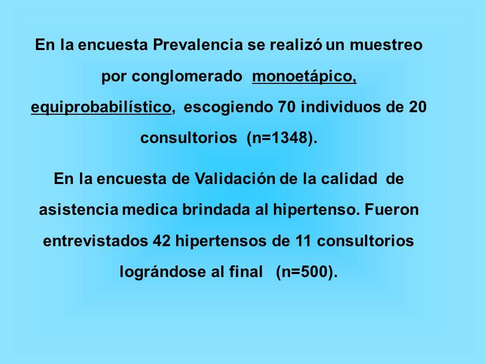 En la encuesta Prevalencia se realizó un muestreo por conglomerado monoetápico, equiprobabilístico, escogiendo 70 individuos de 20 consultorios (n=1348).