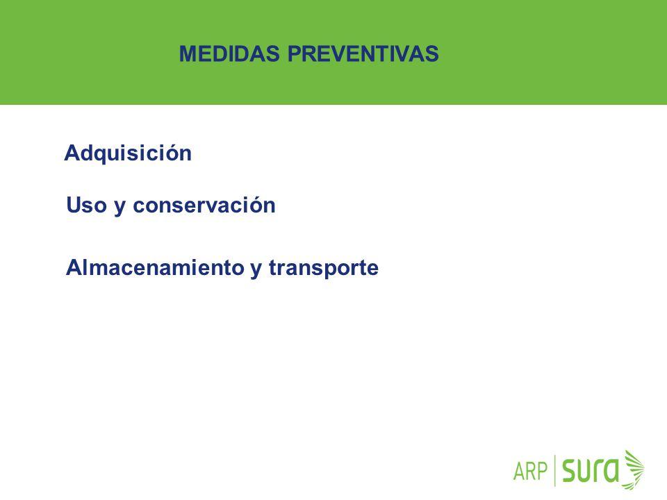 MEDIDAS PREVENTIVAS Adquisición Uso y conservación Almacenamiento y transporte