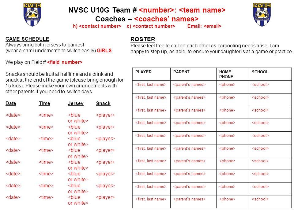team snack schedule