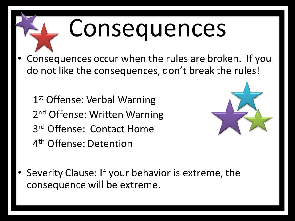 Consequences Consequences occur when the rules are broken. If you do not like the consequences, don't break the rules!