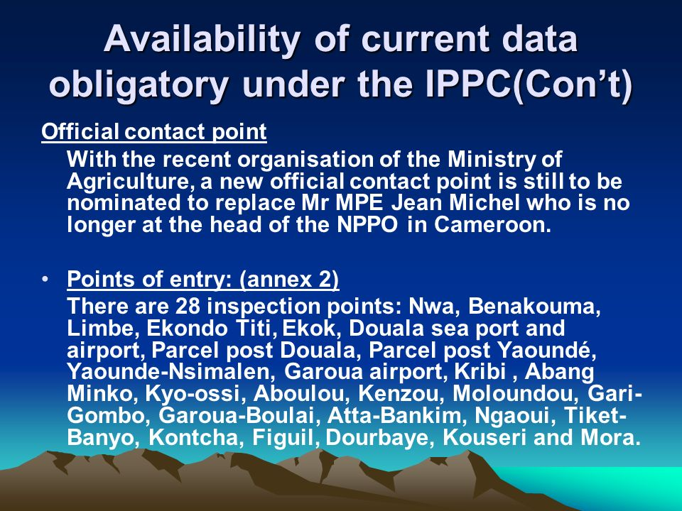 Availability of current data obligatory under the IPPC(Con't)