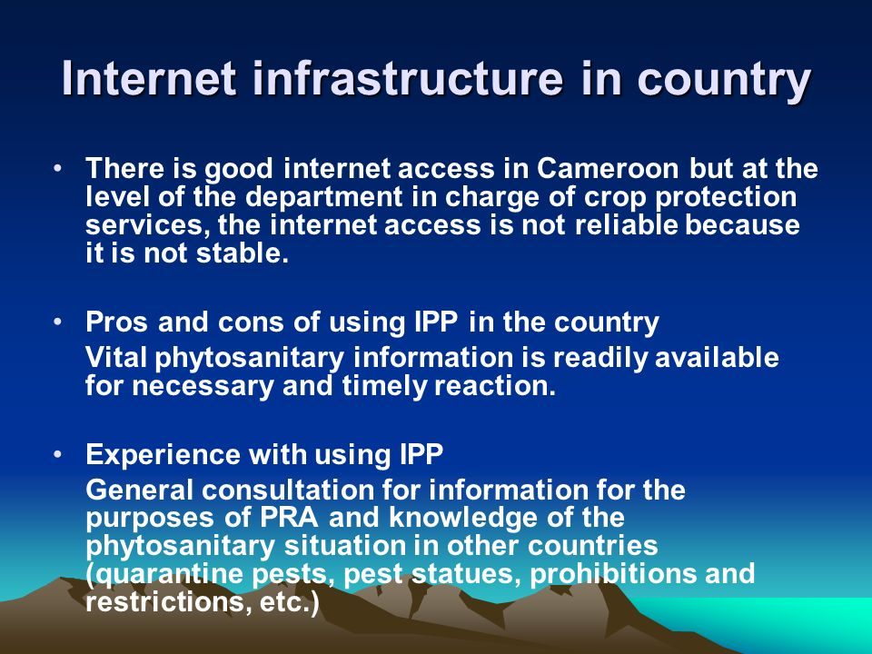 Internet infrastructure in country