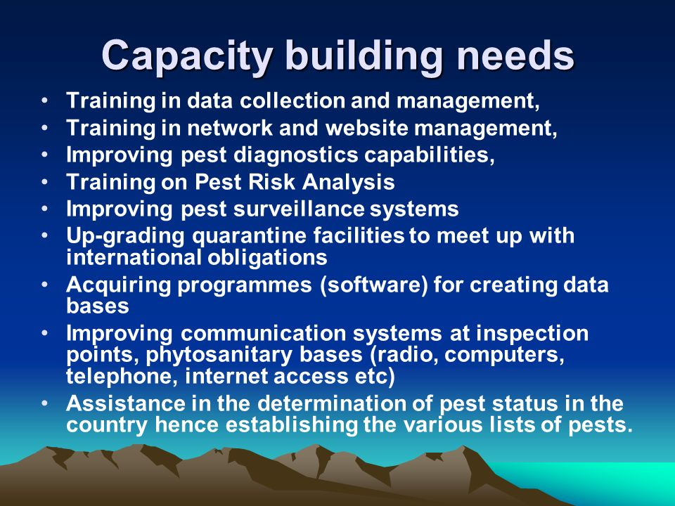 Capacity building needs