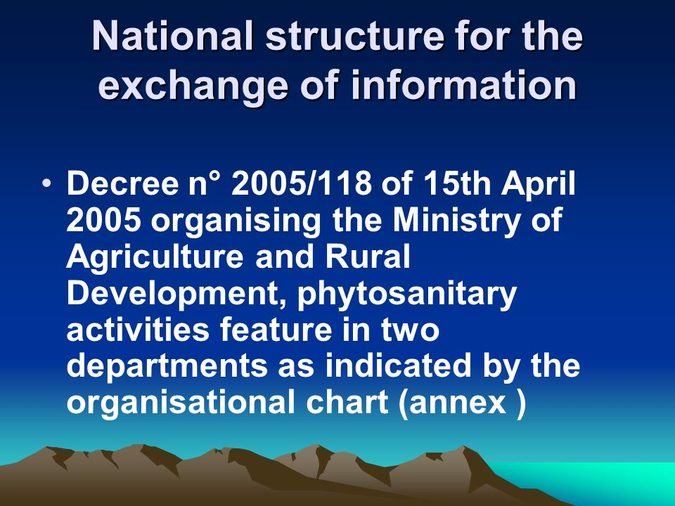 National structure for the exchange of information