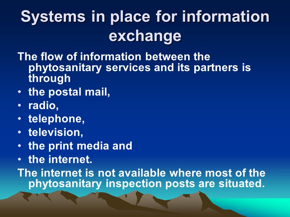 Systems in place for information exchange