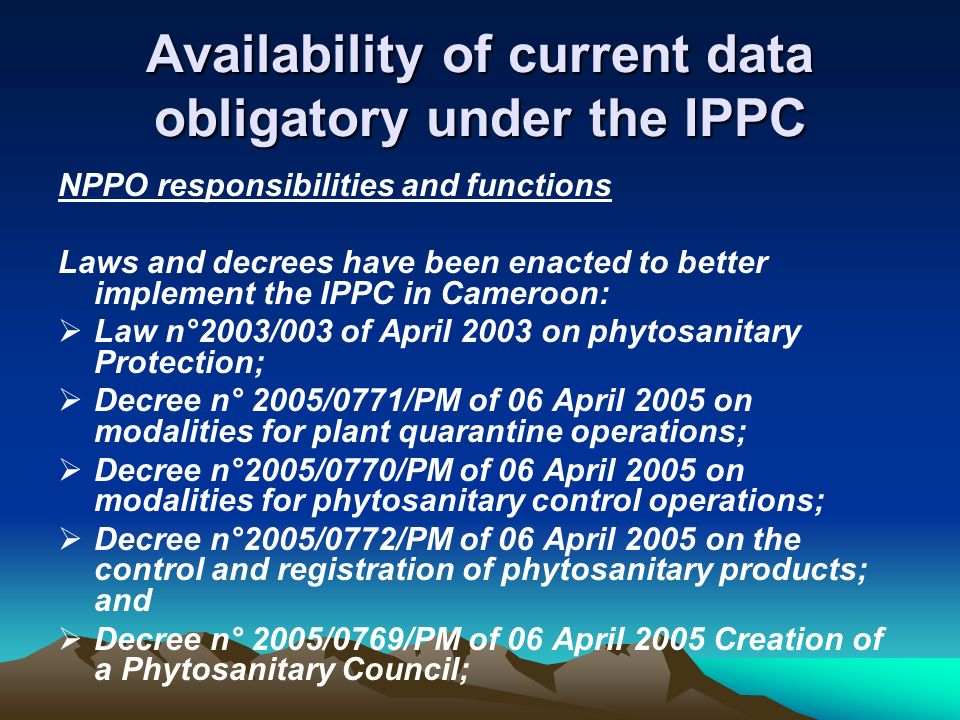 Availability of current data obligatory under the IPPC