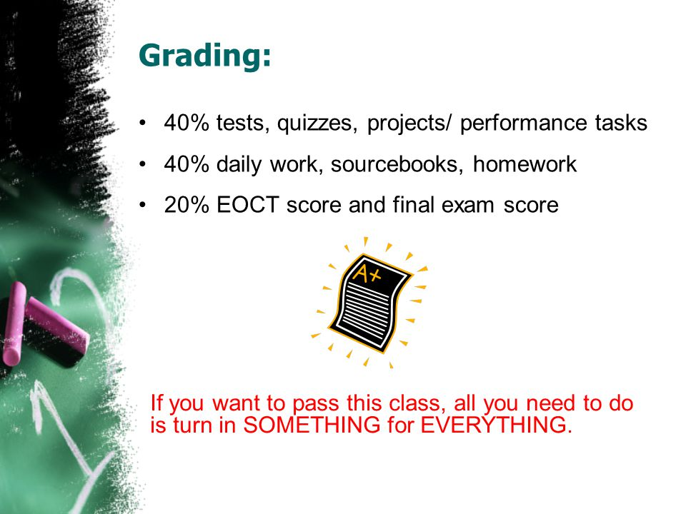Grading: 40% tests, quizzes, projects/ performance tasks