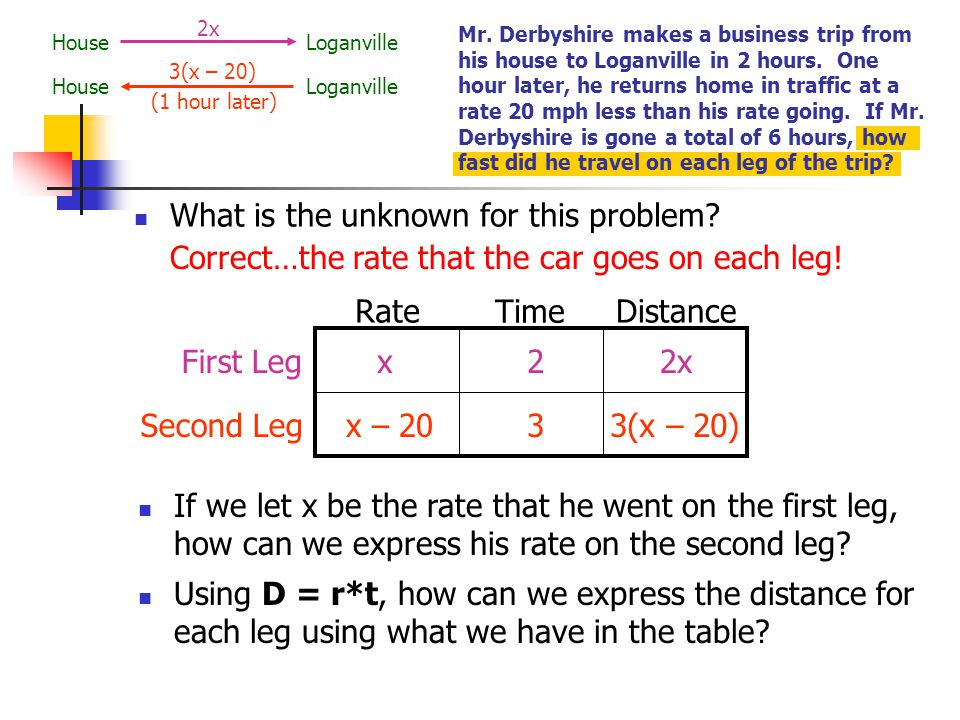 how to solve distance rate time problems