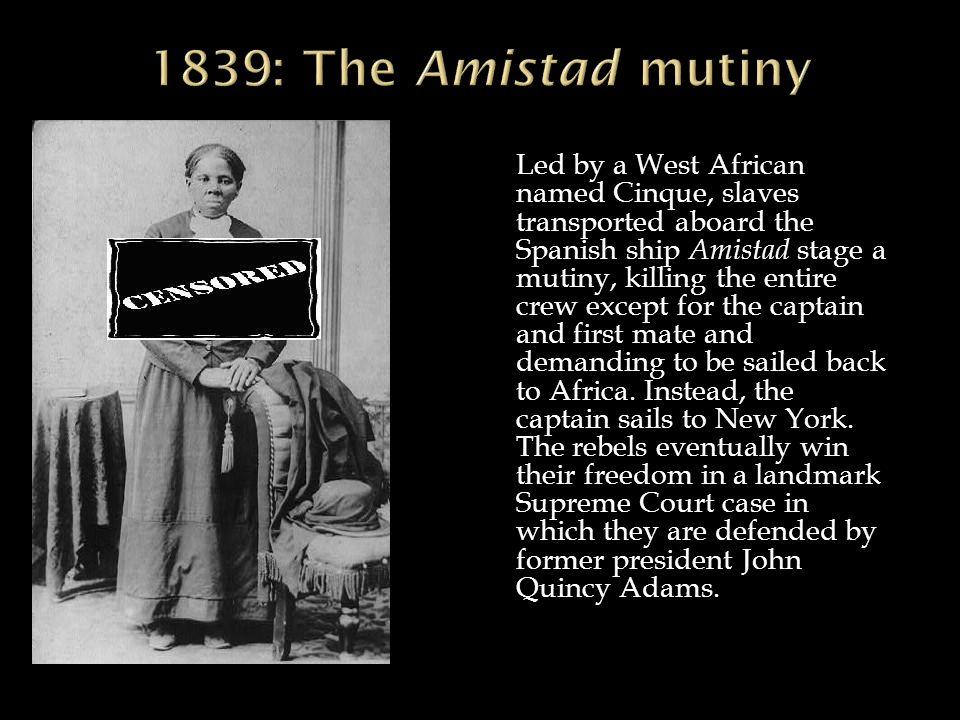 amistad a history of an 1839 slave revolution Download video a series of paintings by african-american artist hale  woodruff gives a new view to the story of a slave rebellion in 1839, a.