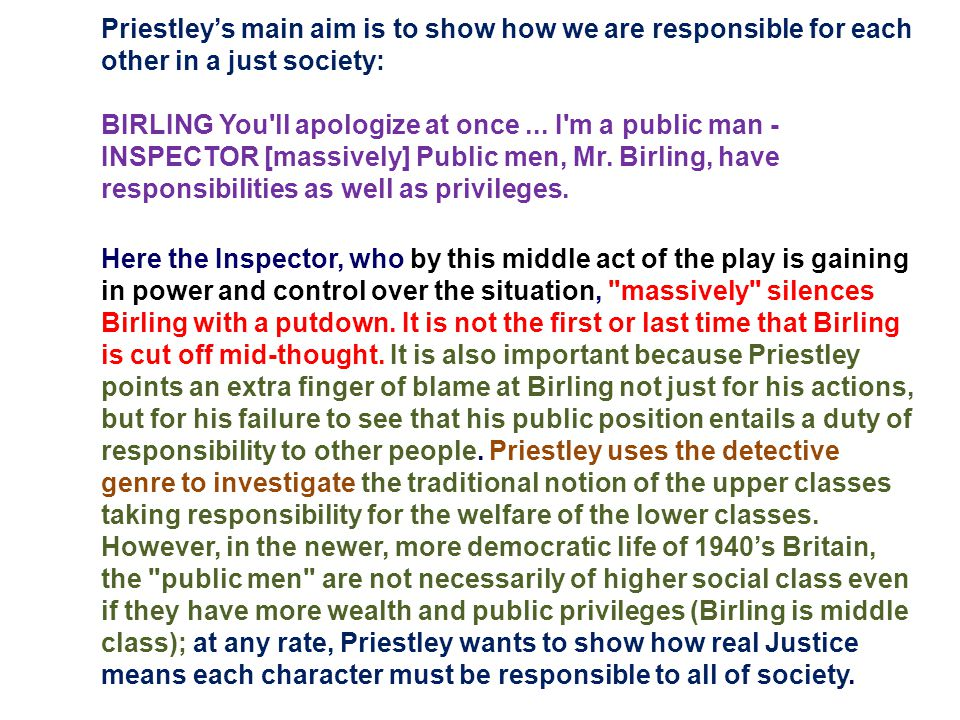 what is jb priestleys main aim in an inspector calls essay Social responsibility in an inspector calls by jb essay on responsibility in an inspector calls  what is priestleys main aim in an site calls how bain does he .