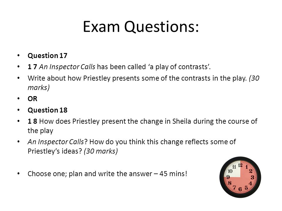 inspectors questions essay This essay example has been submitted by a student our writers can write a better one for you 'an inspector calls' was written in 1945 by john boynton priestley.