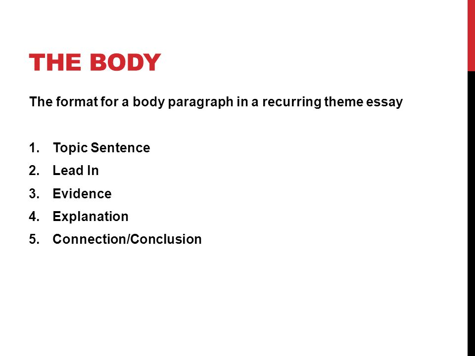 response to literature essay on recurring theme ppt video online  the body the format for a body paragraph in a recurring theme essay