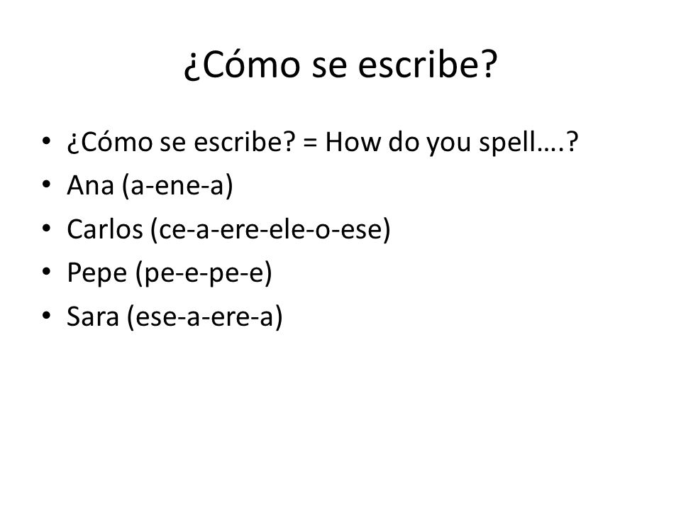 ¿Cómo se escribe ¿Cómo se escribe = How do you spell….