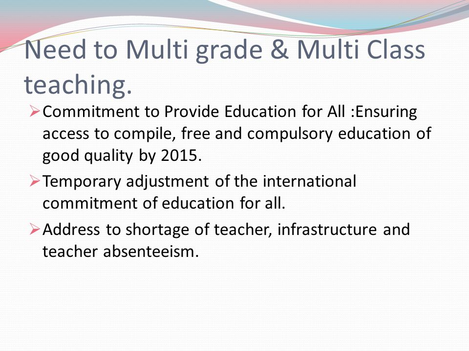 multi grade teaching sample class program Multi-grade teaching and quality of education in south african rural schools: educators' experiences matshidiso taole and vusi s mncube whole-class teaching however, in multi-grade classes students have more opportunity to en.