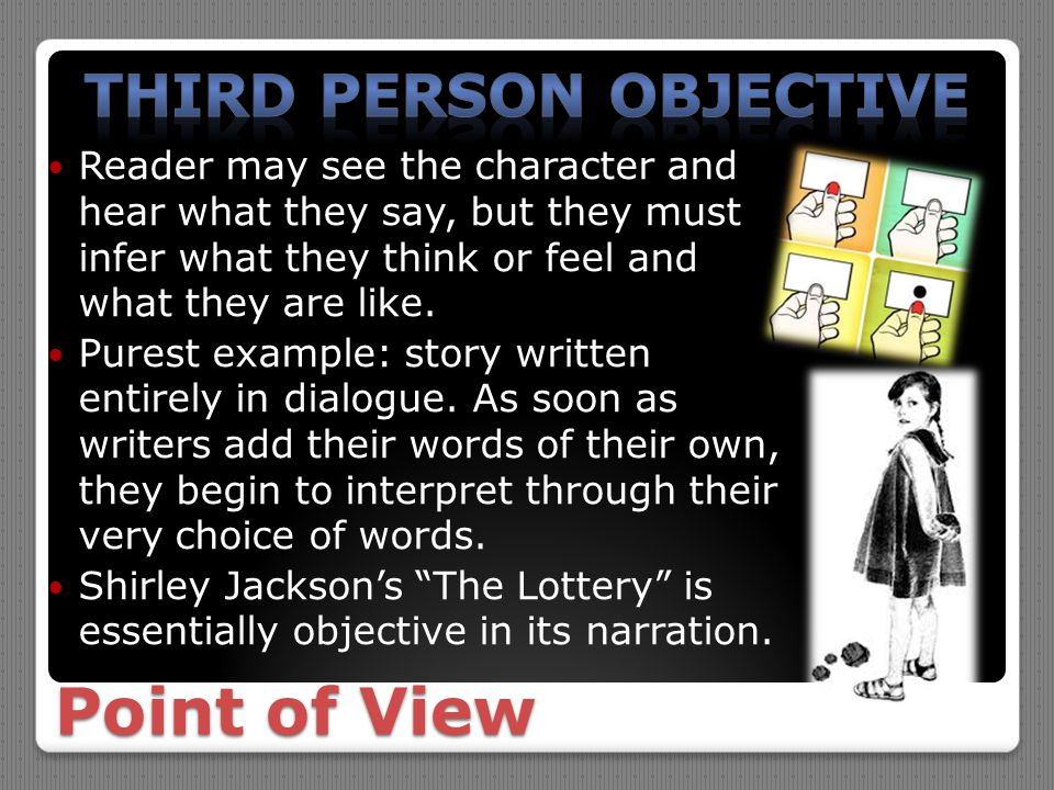 "the use of third person narration in shirley jacksons the lottery Third person: the story is told from the third person, using he or she the narrator does not participate in the story but only —shirley jackson, ""the lottery."