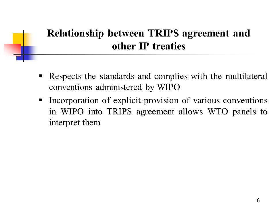 Relationship between TRIPS agreement and other IP treaties