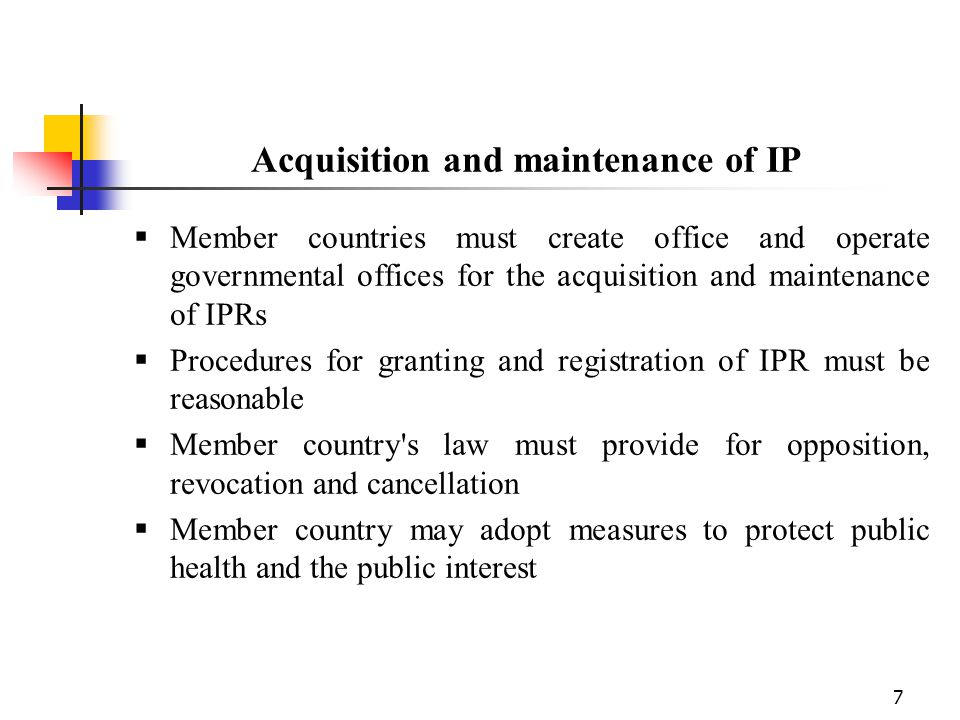 Acquisition and maintenance of IP