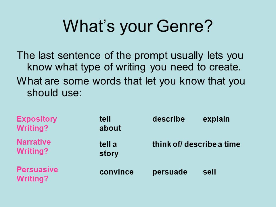 What's your Genre The last sentence of the prompt usually lets you know what type of writing you need to create.