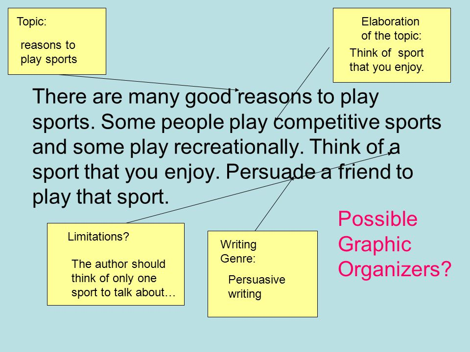 Topic: Elaboration of the topic: reasons to play sports. Think of sport that you enjoy.