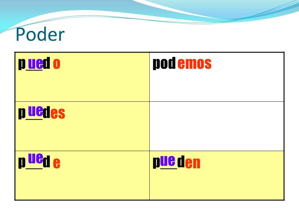 Poder p__d pod ue o emos ue es ue ue e en