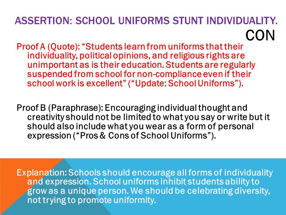 students should not wear school uniforms essay