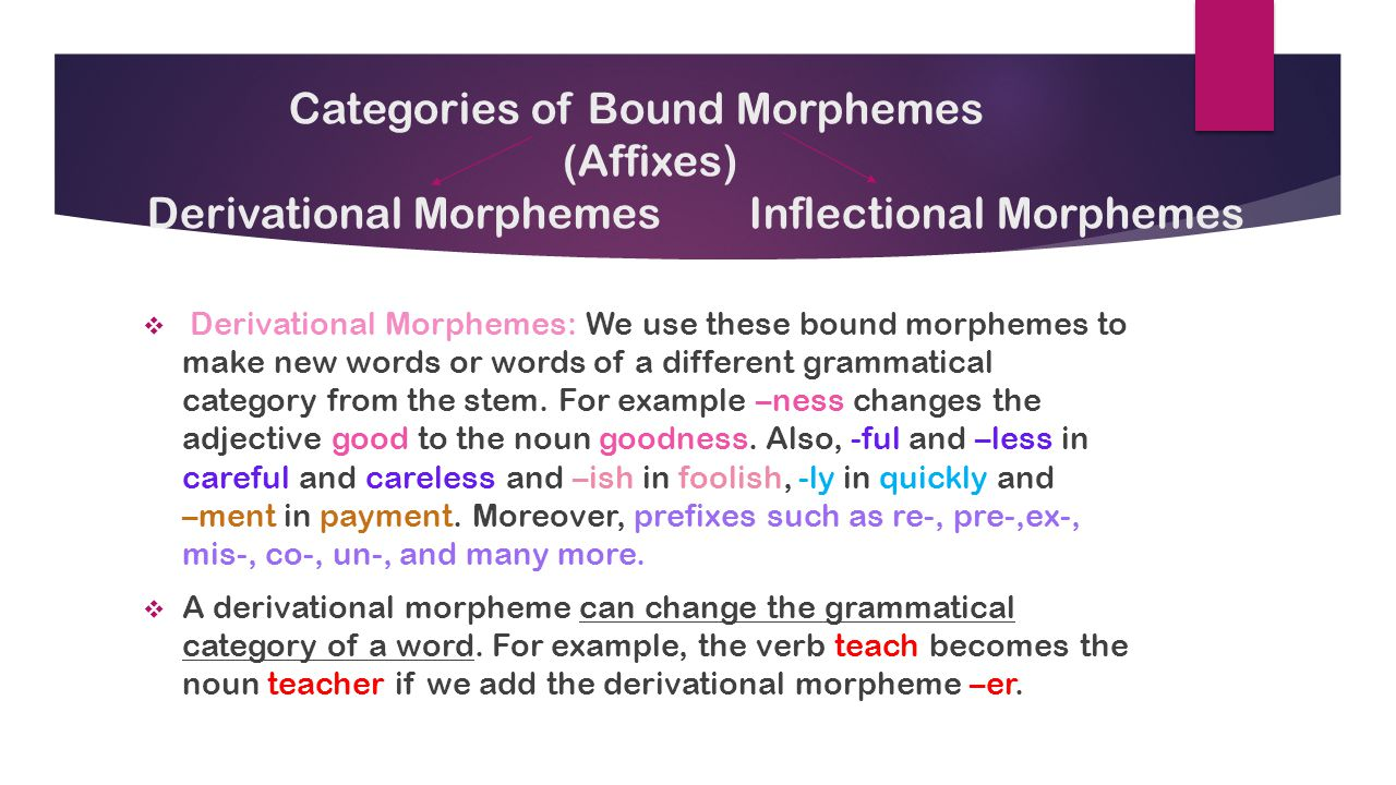 morphology affix and inflectional morphemes inflectional Other types of free morphemes are called functional morphemes examples are and , but, when, because, on, near, above, in, the, that, it, themthis set consists largely of the functional words in the language such as conjunctions, prepositions, articles and.