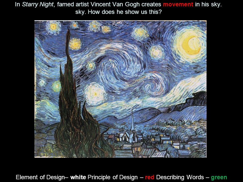 In Starry Night, famed artist Vincent Van Gogh creates movement in his sky. How does he show us this