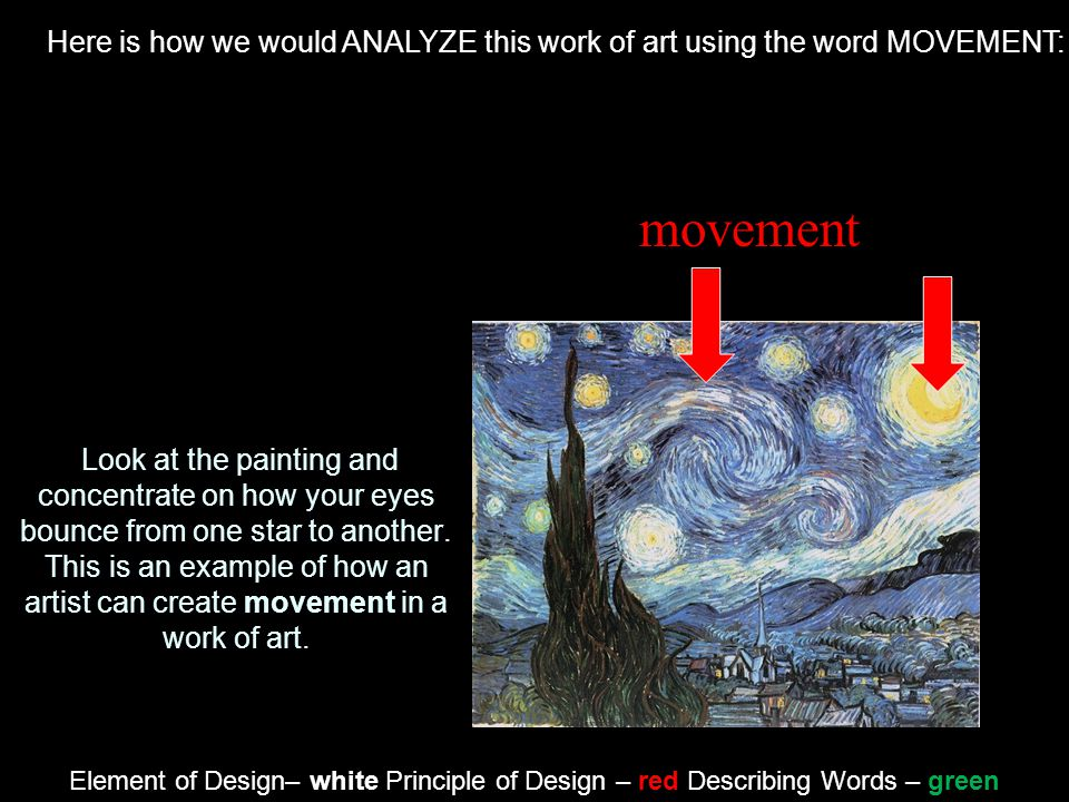Here is how we would ANALYZE this work of art using the word MOVEMENT: