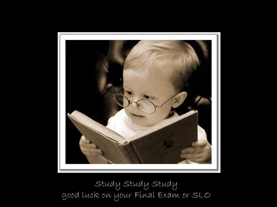 Study Study Study good luck on your Final Exam or SLO