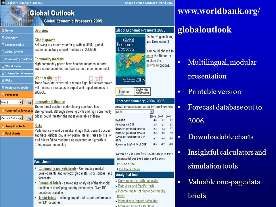 globaloutlook Multilingual, modular presentation