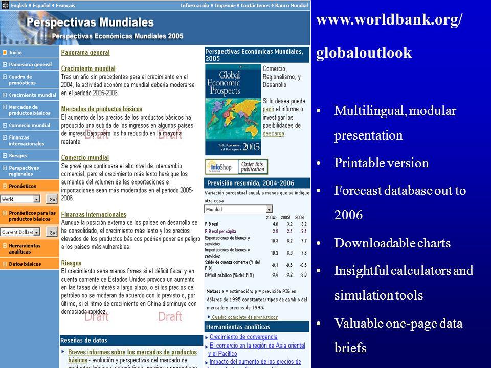www.worldbank.org/ globaloutlook Multilingual, modular presentation