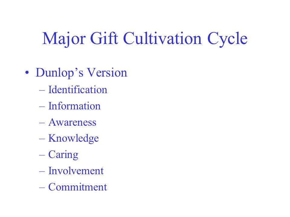 Major Gift Cultivation Cycle