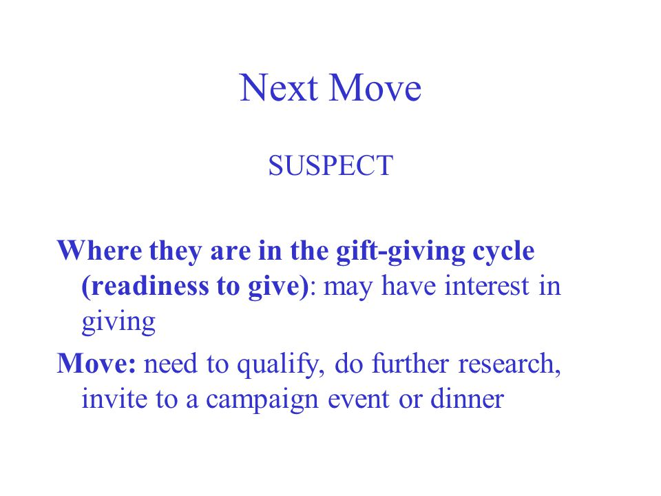 Next Move SUSPECT. Where they are in the gift-giving cycle (readiness to give): may have interest in giving.