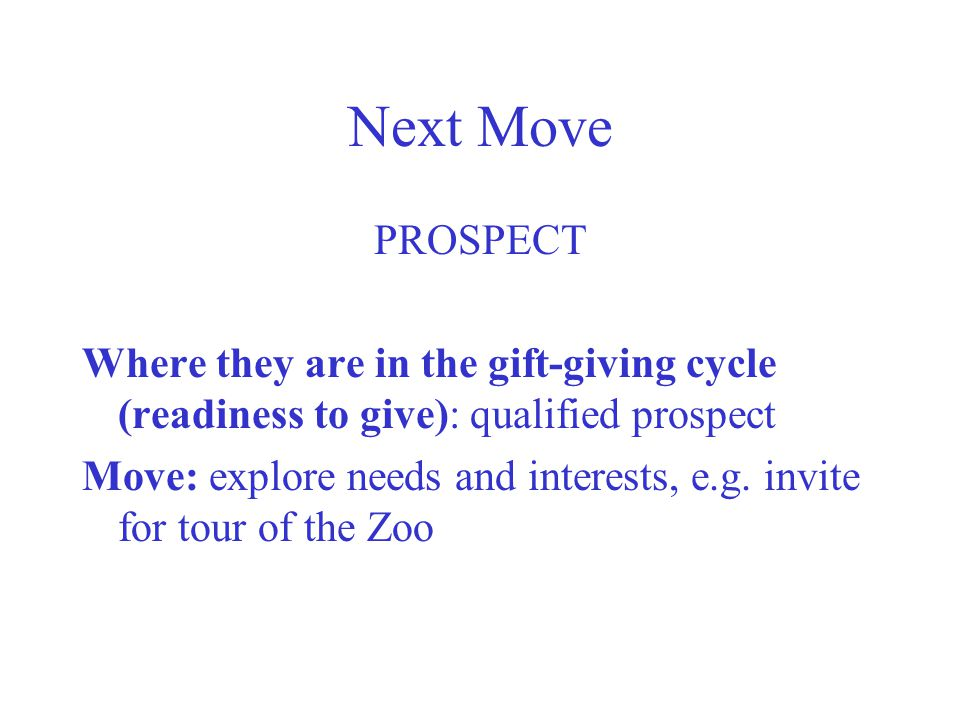 Next Move PROSPECT. Where they are in the gift-giving cycle (readiness to give): qualified prospect.