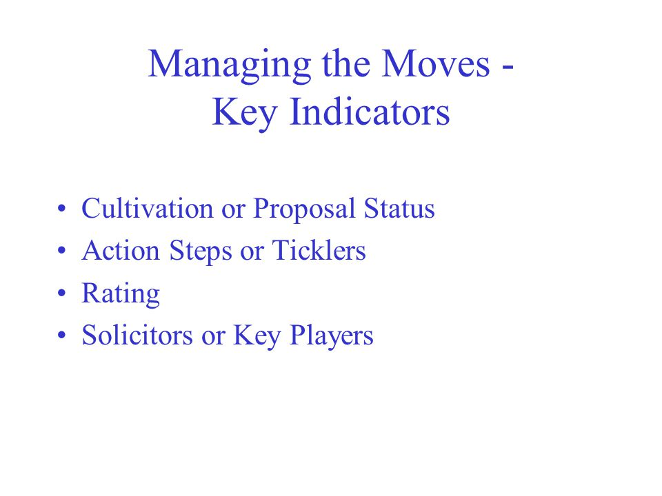 Managing the Moves - Key Indicators