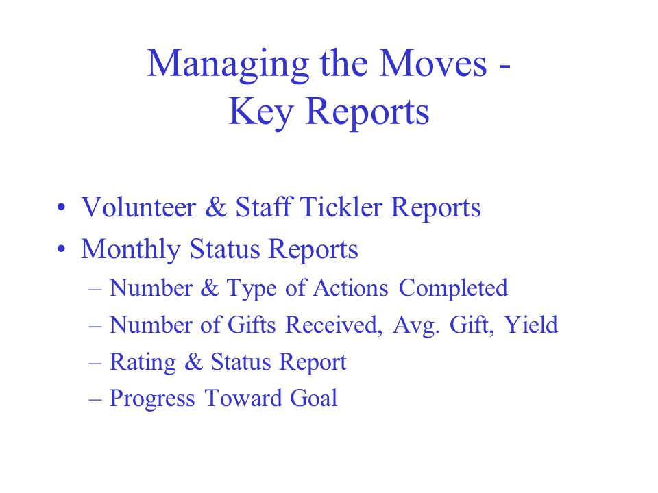 Managing the Moves - Key Reports