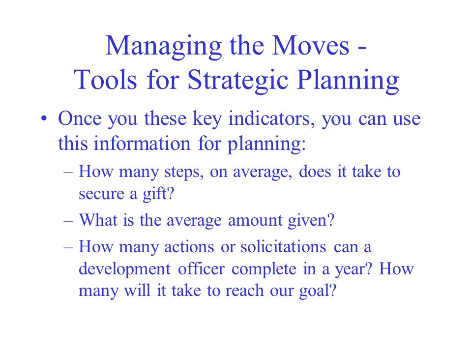 Managing the Moves - Tools for Strategic Planning
