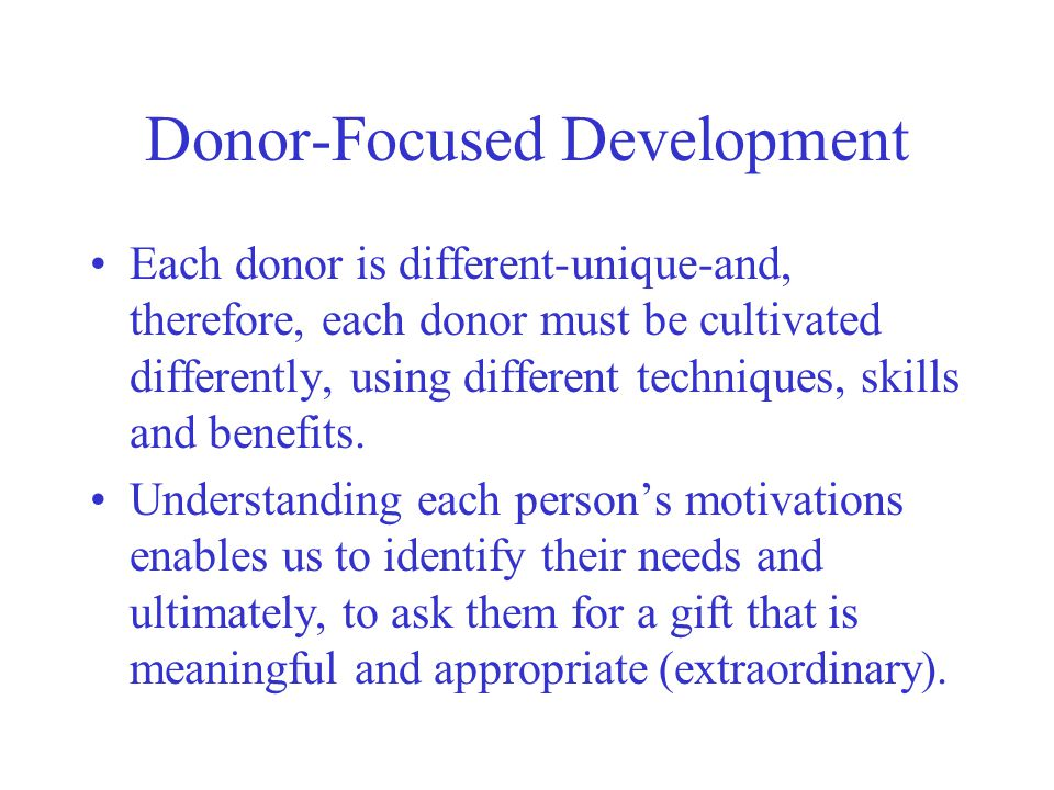 Donor-Focused Development