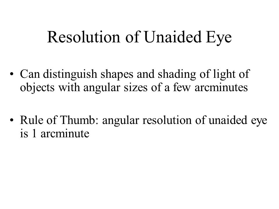 Resolution of Unaided Eye