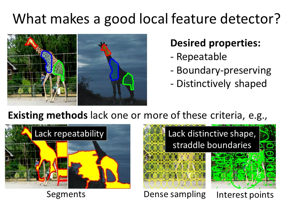 What makes a good local feature detector