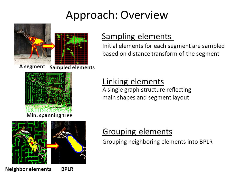 Approach: Overview Sampling elements Linking elements